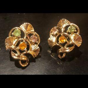 Vintage CORO Rhinestone GoldTone Clip On Earrings